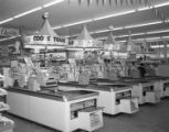 Foremost Dairies displays above the cash registers in a Piggly Wiggly store in Montgomery, Alabama.