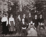 Bertie Lee Orr Roberts and her sister, Mattie Orr, standing with other family members.