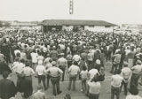 Crowd gathered in front of Laurel Shopping Center in Laurel, Maryland during a stop on George...