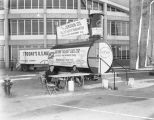 Fallout shelter sold by the Jordan Company on display outside Garrett Coliseum during the 1961...