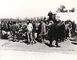 Marchers resting on U.S. Highway 80 during the Selma-to-Montgomery march.