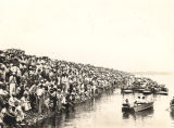 A portion of the crowd and boats attending the regatta on Lake Guntersville in Marshall County,...