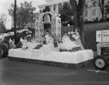 Float in the Christmas parade in downtown Montgomery, Alabama, on Bainbridge Street in front of...