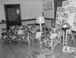 Prizes on display during a sales meeting for employees of the Coca-Cola Bottling Company in...