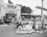 Gulf Lite lighter fluid promotion at Godfrey's Gulf Service Station at 300 Madison Avenue in...