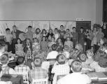 Students with handmade instruments in a classroom at Goode Street School at 1000 Goode Street in...