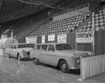 H. M. Price Equipment Company booth at Garrett Coliseum during the 1956 South Alabama Fair in...