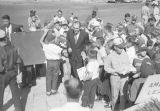 "Dusty Rhodes greeting fans in Montgomery, Alabama, during the ""Dusty Rhodes Day""..."