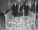 Cans of food collected by the Salvation Army during a children's movie at the Paramount Theatre at...
