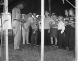 Boys' Sunday School class under a tent at the West End Salvation Army on Eugene Street in...