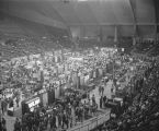 Booths at Garrett Coliseum during the 1985 South Alabama Fair in Montgomery, Alabama.