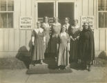 Members of the American Red Cross standing in front of the Canteen Service in downtown Montgomery,...