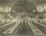 Interior of the old city hall in Montgomery, Alabama, decorated for a banquet to celebrate the...