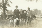 Congressman Harry Steagall with his three favorite hunting dogs at the Southeast Fox Hunters...