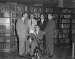 Men in the library at the University of Alabama Montgomery Center at 435 Bell Street in...