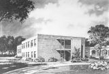 Drawing of the educational building at the First Methodist Church in Greenville, Alabama.