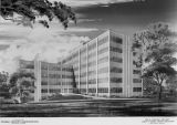 Drawing of a General Services Administration building for Montgomery, Alabama.