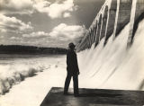 David Lilienthal, director of the Tennessee Valley Authority, at the Wilson Dam in Colbert County,...