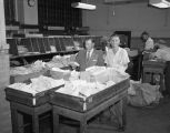 Employees at work during the postal rush hour, probably at the main branch of the post office in...