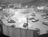 Automobile show featuring 1957 DeSoto models at Garrett Coliseum in Montgomery, Alabama.