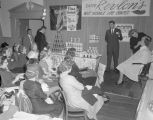 Cosmetics demonstration at a convention hosted by the Johnson's Beauty and Barber Supply Company,...