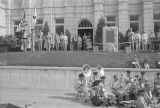 Dedication of a Korean War memorial in front of the Montgomery County Courthouse on Washington...