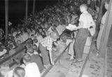 Audience in the stands at Cramton Bowl in Montgomery, Alabama, during a football game for St....