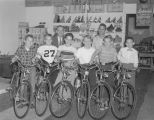 Boys with bicycles they won in a contest, possibly sponsored by The Montgomery Examiner in...