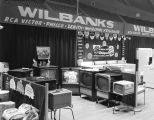 Television sets in the Wilbanks Appliances booth at Garrett Coliseum during the 1956 South Alabama...