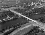 Aerial view of a bridge over the Black Warrior River in Tuscaloosa, Alabama.