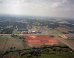 Aerial view of a lot cleared for the construction of a shopping center on Atlanta Highway in...