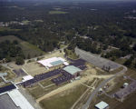 Aerial view of a school using solar energy in Atmore, Alabama.
