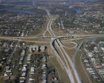 Aerial view of the interchange of Interstate 65 and Interstate 85 in Montgomery, Alabama.