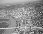 Aerial view of Interstate 65 and the Alabama River in Montgomery, Alabama.
