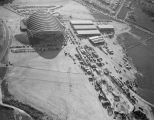 Aerial view of Garrett Coliseum during the 1954 South Alabama Fair in Montgomery, Alabama.