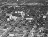 Aerial view of Dexter Avenue and the Capitol complex in downtown Montgomery, Alabama.