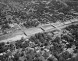 Aerial view of the construction of the start of Interstate 85 in Montgomery, Alabama.