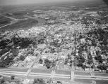 Aerial view of the start of Interstate 85 in Montgomery, Alabama, looking north toward downtown...