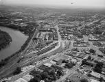 Aerial view of downtown Montgomery, Alabama, and the Alabama River.