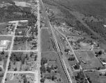 Aerial view of a railroad in Calera, Alabama.