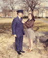 Member of the Air Force R.O.T.C. at Auburn University in Auburn, Alabama, receiving a pin from a...