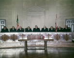 Justices of the Alabama Supreme Court in the court chamber of the Judicial Building in Montgomery,...