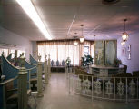Interior of a beauty parlor, possibly in downtown Montgomery, Alabama.
