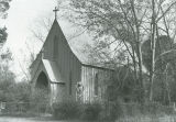 Facade and southwest side of St. John's-in-the-Prairies Episcopal Church in Forkland, Alabama.