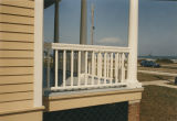 Rail and column on the front porch of the commandant's house at Fort Morgan in Baldwin County,...