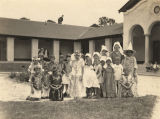 Elementary school children in Pintlala, Alabama, dressed in costumes for a play.