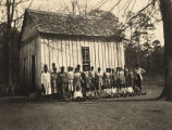 African American students outside the small Brier Hill School building in Alabama.