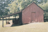Shed beside the historic marker for Fort Cusseta on County Road 83 in Cusseta, Alabama.