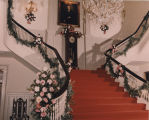Governor's Mansion stairway decorated for Peggy Wallace's wedding.