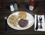 Hamburger dinner at one of the Bonanza Sirloin Pit restaurants in Montgomery, Alabama.